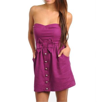 Empire Waist Dress with Bow Detail in Magenta
