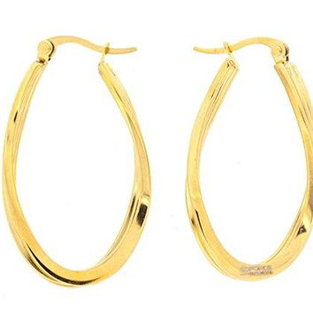 Ben and Jonah Stainless Steel Gold Plated Twisted Oval Hoop Earring