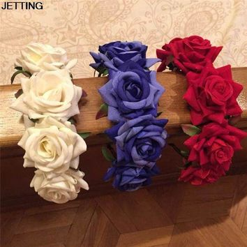 ONETOW Pretty Princess Floral Wreath Headpiece Rose Flower Garland Floral Bride Headband Hairband Wedding Party Prom Festival Decor
