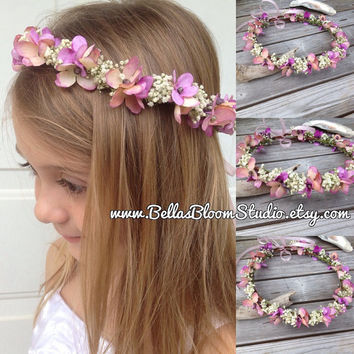 Baby Flower Crown -Baby's Breath Flower Girl - Toddler Flower Crown - Peach Hair Wreath, Toddler headpiece,Rustic  crown, spring halo etsy