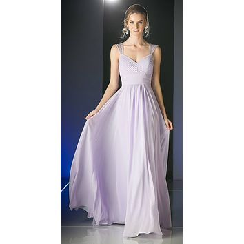 Beaded Cap Sleeves Sweetheart Bridesmaid Dress Lilac Chiffon