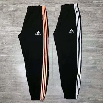 Adidas new fashion letter print reflective stripe couple pants trousers two color