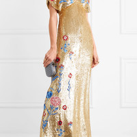 Temperley London - Wild Horse embroidered sequined tulle gown