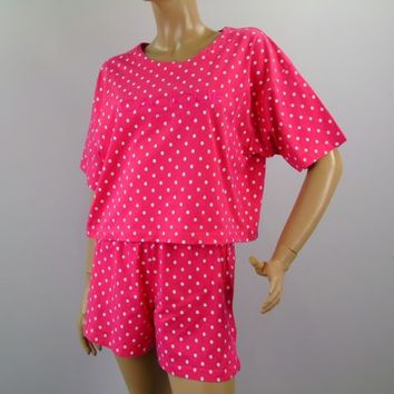 CACIQUE Lingerie Polka Dot 2 Pc Pajama Set Sz S Tee and Shorts PJ Set Loungewear