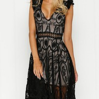 Black Plunge Cut Out Open Back Embroidery Lace Dress