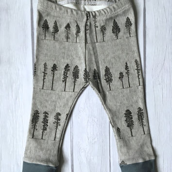 baby leggings, organic baby leggings, baby leggings in tree print, baby boy clothes, leggings, toddler leggings, kid leggings