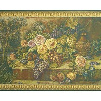 Bouquet with Grapes Green Italian Tapestry Wall Hanging