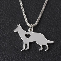Hot sales Pitbull Jewelry, Cattle Dog-Blue Heeler Necklace, Hand Cut Dog Pendant with Heart For Personalized Pets Puppy Gifts