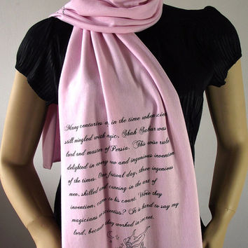 CUSTOM Quote Scarf Text Scarf - PINK - or choose your color - Handprinted Scarf Text Scarf Literary Scarf Book Lovers Scarf