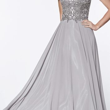 Long Cap Sleeve Chiffon Gown Gray Beaded Lace Detail Closed Back