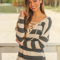 Charcoal and Taupe Striped Lace Up Top