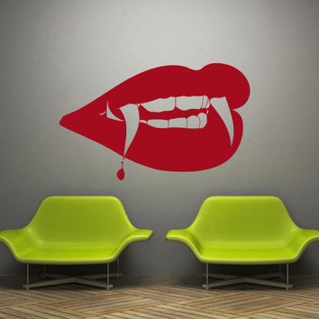 Wall decal decor decals art sticker lips pomade kiss me inscription passion vampire blood (m482)