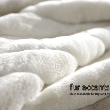 Plush Faux Fur Bedspread / Twin Size / Comforter / Blanket / Throw / OFF White Ribbed Mink . Rabbit / Custom / USA / Sheepskin / New