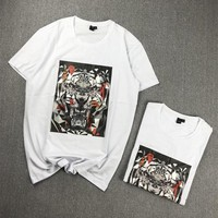 """""""Alexander McQueen"""" Unisex Casual Fashion Personality Tiger Head Pattern 3D Print Short Sleeve Couple T-shirt Top Tee"""