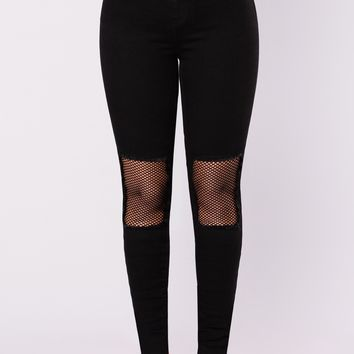 Take A Risk Fishnet Jeans - Black