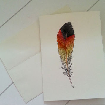Black and Red Feather Notecard, Hand Painted Stationary, Custom Greeting Card, Original Watercolor Art