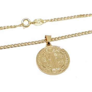 1-2291-1768-f9 18kt Brazilian Gold Layered San Benito Medallion Necklace. 20mm pendant. Curblink Chain is 2.25mm by 24 inches.