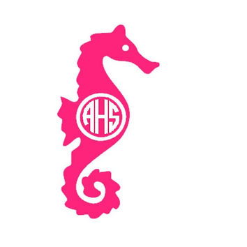 Seahorse Monogram Decal - Monogram Summer Car Sticker