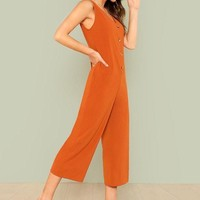 Button Front Pocket Side Jumpsuit