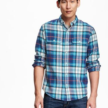 Old Navy Mens Slim Fit Plaid Flannel Shirt