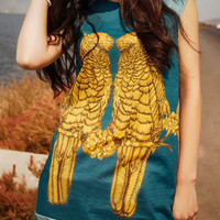 Blue Contrast Parrot Pattern Cap Sleeve Dress-top