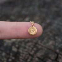 Tiny Gold Om Necklace - Yoga Jewelry . 24K Gold Dipped Matte Ohm Pendant . 14K Gold Filled Chain . Gift for Her