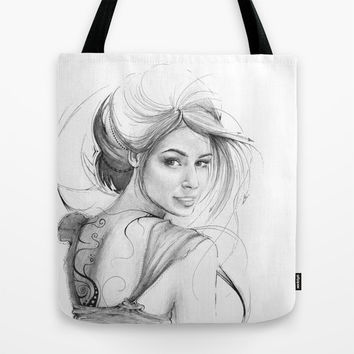 Beautiful Fairy Drawing Tote Bag by Olechka