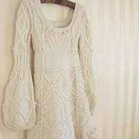 White ivory hand knit dress wedding  custom order by Muza on Etsy
