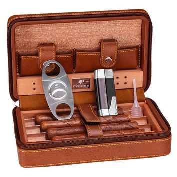 COHIBA Black/Brown Leather Cedar Lined Cigar Case Humidor With Lighter Cutter  Humidifier Set HH-1040