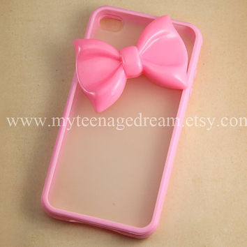 Iphone 4 Case lovely big pink bow iphone 4s Hard by MyTeenageDream