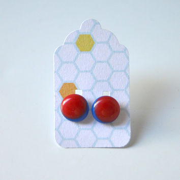 Stud Earrings - Red and Dark Blue Stud Earrings - Tiny Stud Earrings - Post Earrings - Colorful Earrings - Handmade Enamel Jewelry Studs