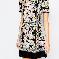 Oasis Floral Placement Border Shift Dress at asos.com