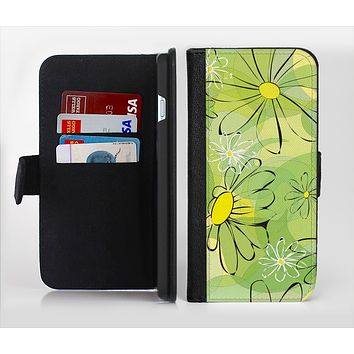 The Vibrant Green Outlined Floral Ink-Fuzed Leather Folding Wallet Credit-Card Case for the Apple iPhone 6/6s, 6/6s Plus, 5/5s and 5c