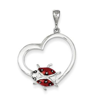 Sterling Silver and Enameled Open Heart Ladybug Pendant, 22mm