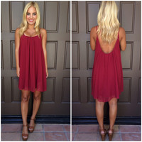 Melody Low Back Chiffon Dress - BURGUNDY