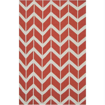 Area Rug - 5' X 8' - Colors Include Poppy-red And Winter-white
