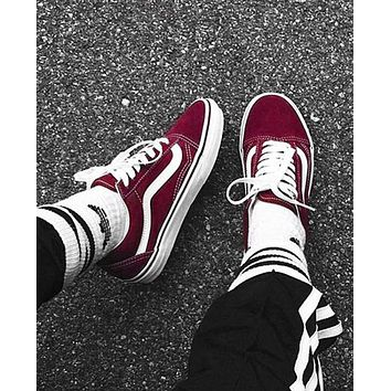 Vans Old School Casual Shoes Men and women classic black cloth shoes Wine red