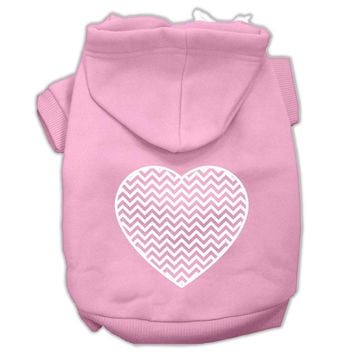 Chevron Heart Screen Print Dog Pet Hoodies Light Pink Size Lg (14)