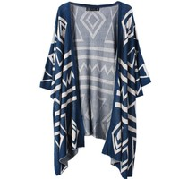 Partiss Womens Retro Diamond Lattice Bat Sleeve Cardigan