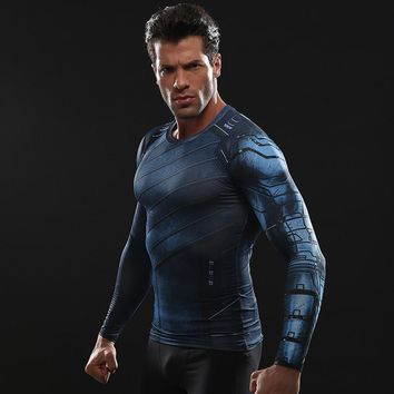 Avengers 3 Winter Soldier 3D Printed T shirts Men Compression Shirt 2018 Comics Cosplay Costume Long Sleeve Fitness Tops Male