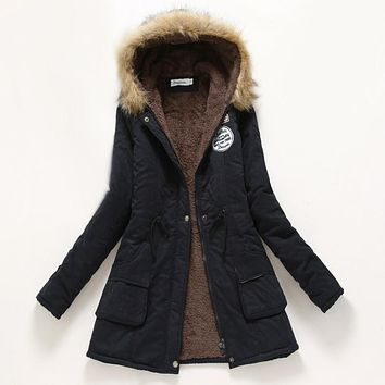 197660855b33f Winter Coat Women 2016 New Parka Casual Outwear Military Hooded Thickening Cotton  Coat Winter Jacket Fur