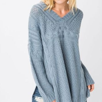 V Neck Chunky Knit Sweater