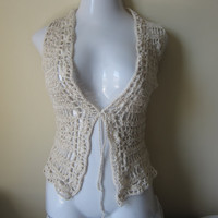 Crochet Vest, offwhite, Egyptian cotton, scalloped edges, festival, gypsy, boho