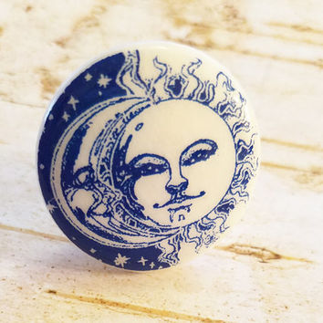 Sun and Moon Knob Drawer Pulls, Blue and White Birch Wood Knobs, Handmade Cabinet knobs, Sun Face Dresser Knobs, Made to Order Style 3