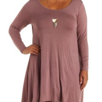 Plus Size Long Sleeve Swing T-Shirt Dress
