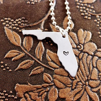 Florida Necklace Personalized Jewelry Hand Stamped Long Distance Relationship Girlfriend Gift Couples Necklace City Heart State Necklace