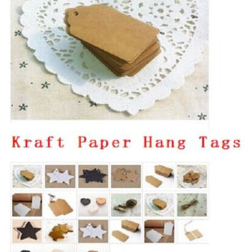100pcs BLANK  Kraft Paper Hang Tags w/String Punch Label Price Gift Cards HUUS