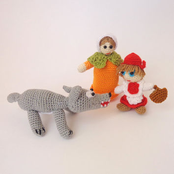 Little Red Riding Hood doll , Mister Wolf stuffed animal and Granny (toy, decoration) baby toy Or hanging decoration