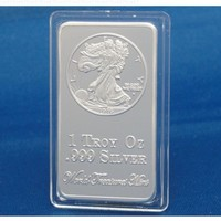 1 Troy Ounce .999 Silver Clad Ingot Walking Liberty Eagle Half Dollar, 1916 Bar - World Treasures Mint's Top 15 U.S. Currency Coin Designs Series