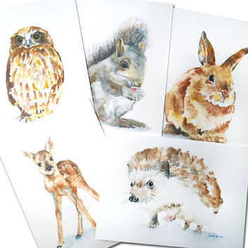 Woodland Animal Watercolor Card Set Greeting Cards